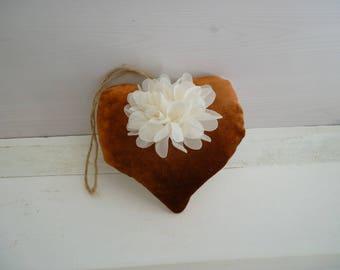 Decorative hanging - heart heart velvet flower shabby - decorative door pillow - heart - heart door pillow - fabric heart