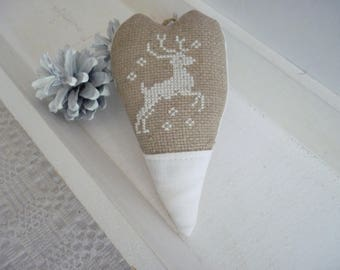Heart Christmas ornament - hanging fabric heart embroidered with a white deer - Christmas tree decoration - Christmas cross stitch Embroidery