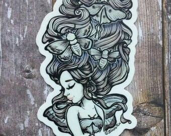 Moth Girl - Halloween and Nature themed 3 Inch Die Cut Weatherproof Vinyl Sticker /Decal from Drawlloween /Inktober 2017
