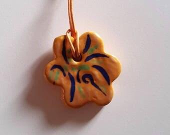 """Flower"" ceramic necklace pendant"