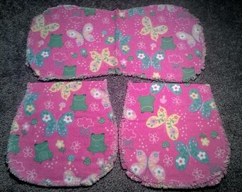Baby burp cloth Three piece pink with Green frogs and butterflies