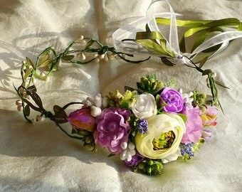 Lavender floral crown , Flower headband, Bridal headband , Flower crown, Flower wreath, Headwear,  Festival Garland, Wedding circlet