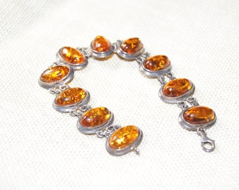 Lovely silver and amber bracelet.