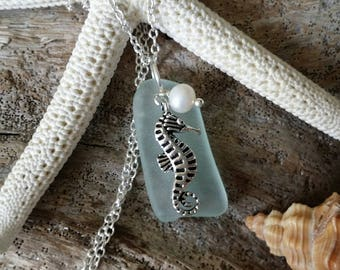 Handmade in Hawaii, Seafoam sea glass necklace, Sea horse charm, Fresh water  pearl, Sterling silver chain,  Hawaii beach jewelry gift