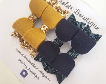 Pigtail Hair Clips - mustard/navy pigtail sets - piggy hair bow sets