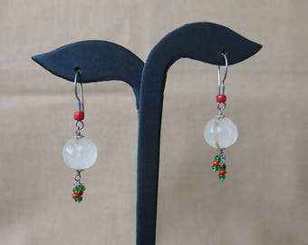 Antique Quartz earrings with trade beads