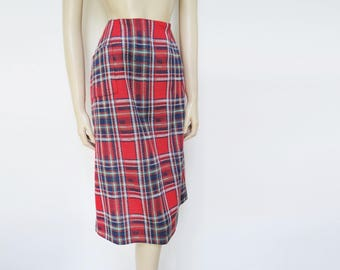 Red Tartan Skirt, UK14, Tartan, Vintage Skirt, Country, Red Skirt, Ladies Skirt, Vintage Clothing, Skirt, Pencil Skirt