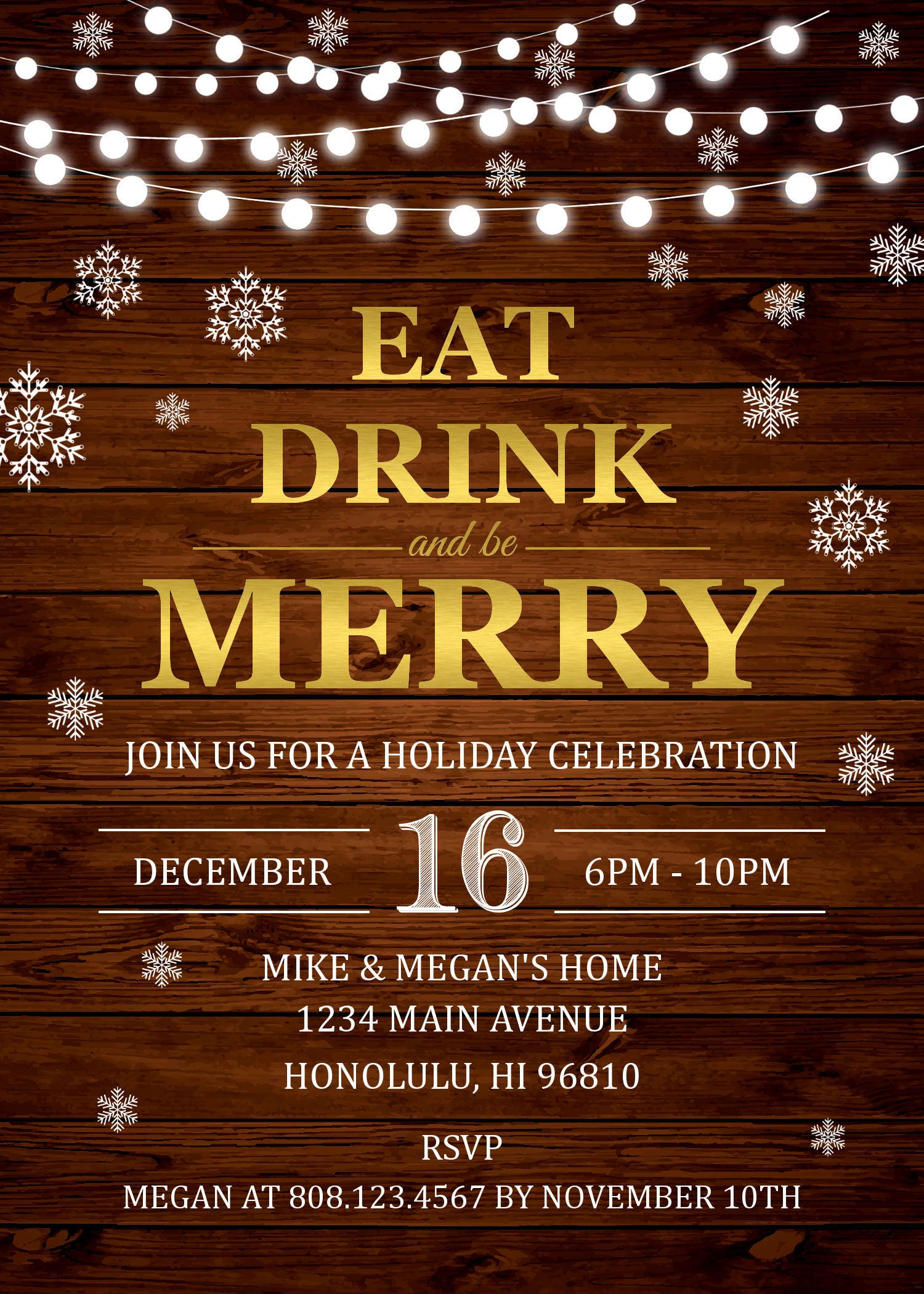 Christmas Party Invitations. Eat Drink and be Merry. Rustic ...