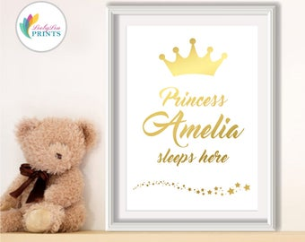 Nursery Foil Print - Princess 'your name' Sleeps Here - Personalised Real Foil Print - Foil Print, Quote Print, Princess Print