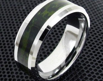 Mens Tungsten Ring Forest Green Camouflage Camo Hunting Band Bridal Jewelry 8mm Silver Meteorite Inlay Wedding