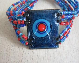 enamels on copper - Saturn bracelet