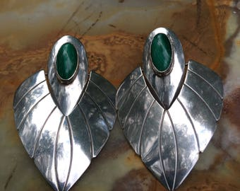 Moving Vintage Native Deco Sterling Earrings with Malachite