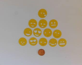Die cut Emojis/ Emoji Confetti, Kid's Party Confetti, Emoji Die Cuts, Party Supplies, scrapbooking supply, Emoji cupcake topper, cardmaking