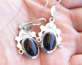 Tuareg earrings Sterling Silver 925 and africans tribal motifs with onyx stone