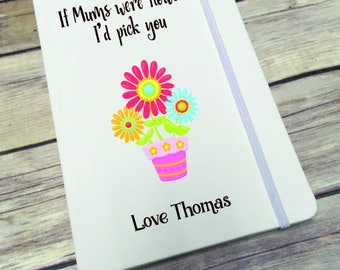 Personalised Lined Notepad- Gift - Present - Mums Flowers DD287