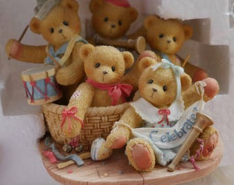 Cherished Teddies, 5 Year Anniversary, Enesco Figurine, Strike Up The Band, Give 5 Years A Hand, Enesco Vintage, Boxed Gift, Teddy Bears
