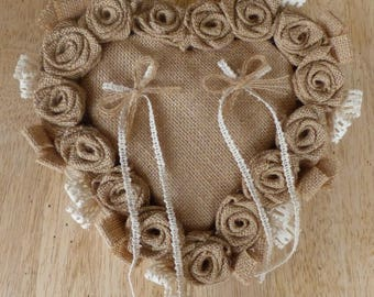 Heart burlap wedding ring pillow