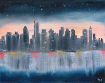 Boston Print, Boston Art, Boston Skyline, City Skyline Print, Cityscape Art, Office Art, Office Decor, Oil Painting, Massachusetts Art