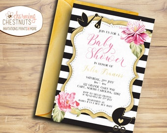 Girl Baby shower invitation, elegant baby shower, blush baby shower, black white stripes, gold shower, wishes for baby girl, gold pink
