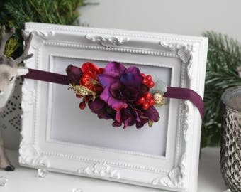 Baby Christmas headband, elastic flower hairband, Baby first Christmas, Red violet hair bow, small hairpiece,  Christmas gift idea, crown