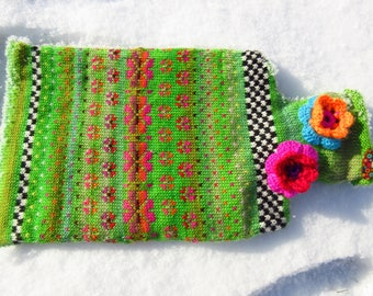 Colorful hot water bottle spring Kiss Green