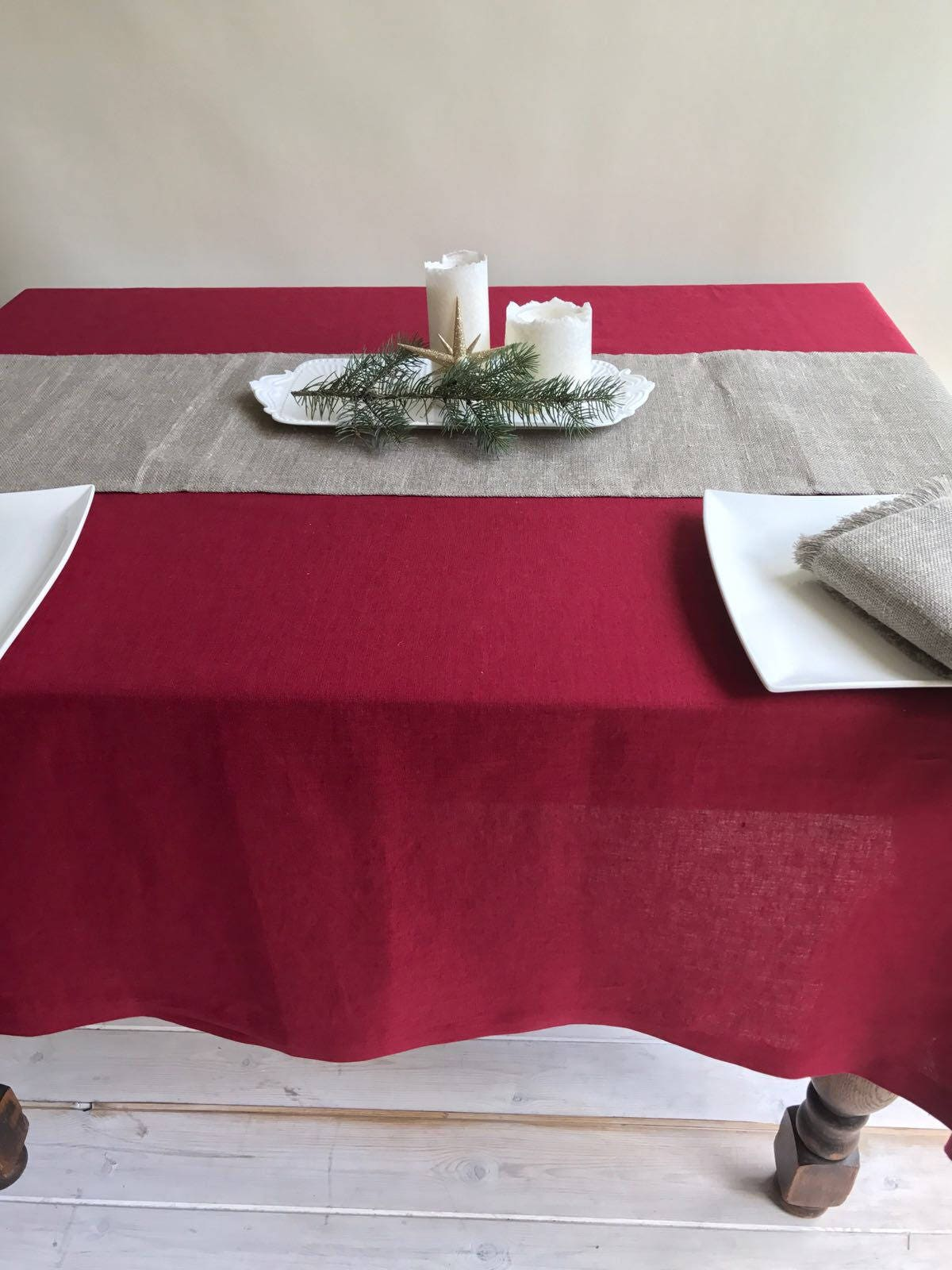 Maroon Red Linen Table Cloth Christmas Linen Tablecloth Rectangle