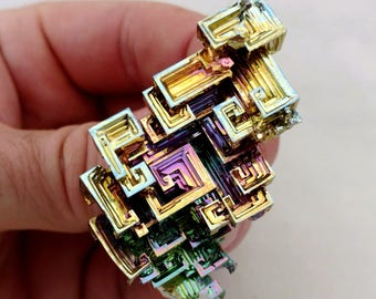 Rainbow Bismuth Crystal 53g Lab Grown Jewelry Display Specimen Educational Metaphysical Metal Healing Stone