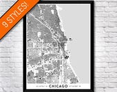 Buildings of Chicago map art   Printable Chicago map print, Chicago print, Chicago poster, Chicago art, Chicago wall art, Illinois map gift