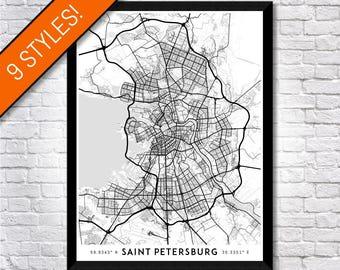 Every Road in Saint Petersburg map art   Printable Russia map print, St Petersburg print, St Petersburg poster, St Petersburg art, Wall art