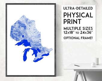 Waterways of Ontario print | Physical Ontario map print, Ontario poster, Ontario art, Ontario map art, Ontario wall art, Canada map print