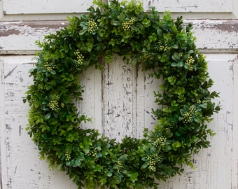 Boxwood and Berries Wreath, Southern Wreath, Year Round Wreath, Spring Wreath, Summer Wreath, Door Wreath, Natural Wreath