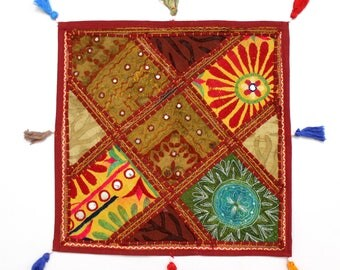 Handmade Hippie Gypsy Home Decor Ethnic Multi color Embroidered Hippy Patchwork Bohemian Pillow Shams Couch Cushion Cover Case G765