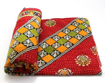 Indian Handmade Twin Size Reversible Floral Cotton Quilt Throw Embroidered Bohemian BedSpread Gypsy Blanket Ethnic Bedding Coverlet J553
