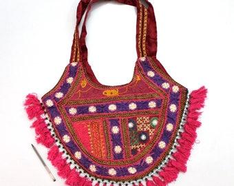 Handmade Ethnic Designer Tribal Banjara Patchwork Embroidered Hippy Fashionable Stylish Trendy Hippie Gypsy Boho Bohemian Shopper Bag F182