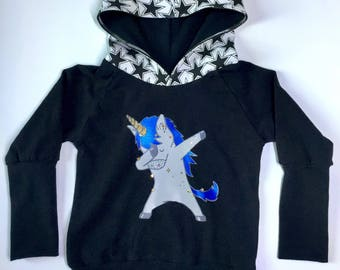 Hoodie evolutif licorne dab 3-6t, grow with me hoodie dabbing unicorn 3-6t