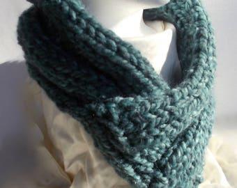 Blue Wool Neck Warmer, Scarf, Knit, Machine Washable, No Shrink, No Itch, Bulky Yarn, Wool Blend, Super Soft, Thick, Warm