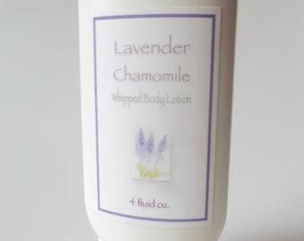 Organic Lavender Chamomile Lotion - Herbal Infused, Organic Coconut Oil, Olive Oil, Shea Butter - Whipped Body Lotion - Natural Skin Care