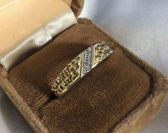 Vintage Sterling Silver Mens Diamond Ring  Size ll