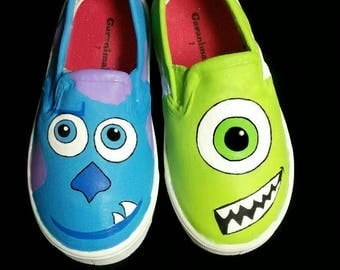 Monster Inc Inspired Special Occasion Hand-Painted Shoes.