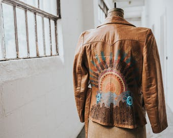 Vintage Leather Boho Blazer with Hand-Painted Sunset