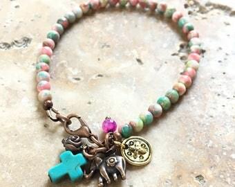 Bracelet 1 round natural stone style hippie Bohemian chic