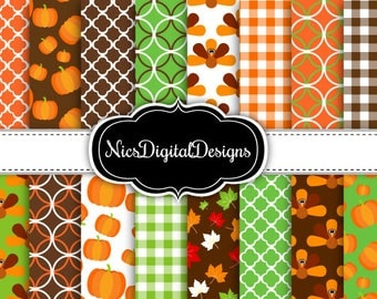 Buy 2 Get 1 Free-16 Digital Papers. Patterns for Thanksgiving (2C no 1) for Personal Use and Small Commercial Use Scrapbooking