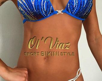 Blue  Mate Supplex Bikini Suit with ORIGINAL Swarovski Crystals/Competition Suit/Posing Suit/Rhinestone Fitness
