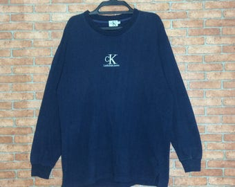 Rare!!! Vintage CK Calvin Klein Jeans Embroidered Long Sleeve Shirt Vtg CK Spellout Big Logo Pullover M size Tees