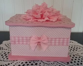 Pink and White  Checked Jewelry Box