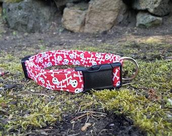 Red Skull and Crossbones Dog Collar