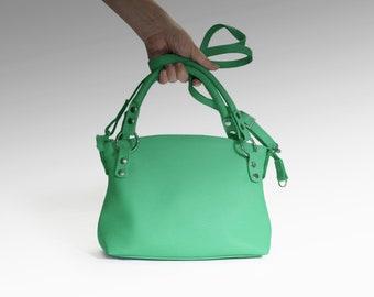 Leather bag soft leather handbag emerald Italian cow leather crossbody women's handbag green shoulder bag small leather purse minimalist bag