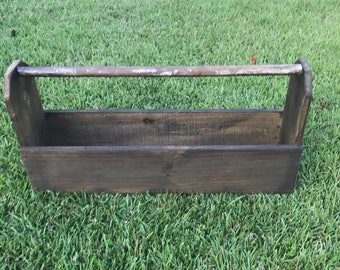Rustic Style Tool Box, Rustic Wood Tool Caddy, Country Style Decor, Farmhouse Wood Caddy, Tool Box, Rustic Planter, Rustic Plant Holder