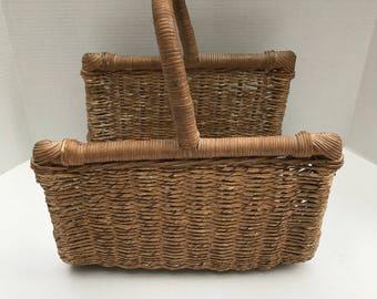 Antique Wicker Basket, Log Basket, Magizine Basket, Flower Gathering Basket,