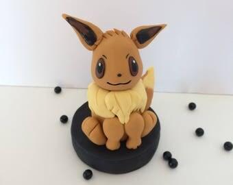Eevee Pokemon Inspired Fondant Cake Topper